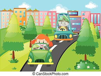 Boy and girl driving cars in the park