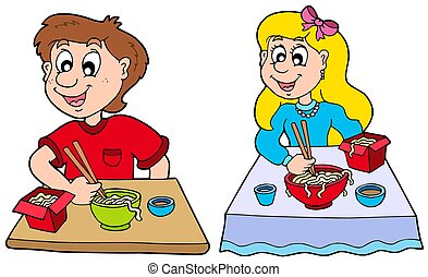 Boy and girl eating Chinese food - isolated illustration.