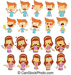 Boy and Girl Emoji for different expression feeling