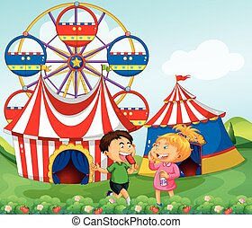 Boy and girl enjoying circus