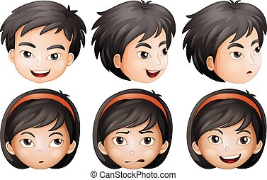 Boy and Girl Facial Expression