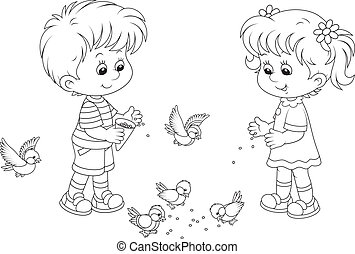 Kids feeding a small flock of sparrows and titmice