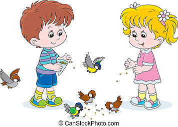 Boy and girl feeding birds - Little children feed a small ...