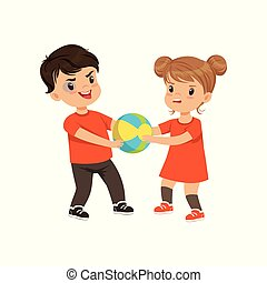 Boy and girl fighting for the ball vector Illustration on a white background