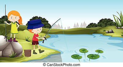 Boy and girl fishing at the river