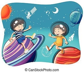 Boy and girl floating in the space