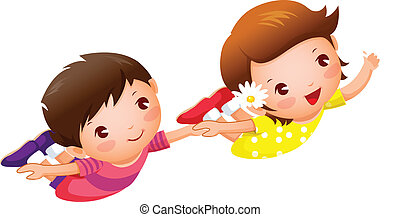 Boy and Girl flying holding hands