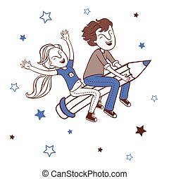 Boy and girl flying on a pencil.