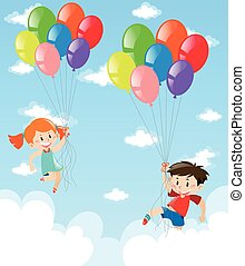Boy and girl flying with the balloons in sky