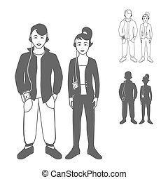 Boy and girl full length portraits