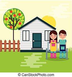boy and girl gardeners