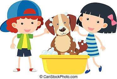 Boy and girl giving dog a bath