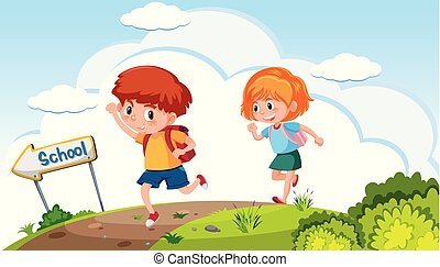 Boy and girl going to school