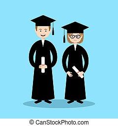 Boy and girl graduates. Vector