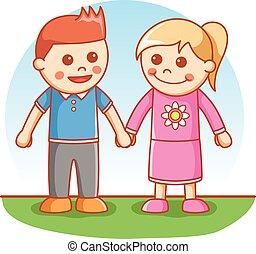 Boy and Girl greeting pose