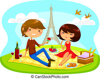 romantic picnic - boy and girl having romantic picnic next...