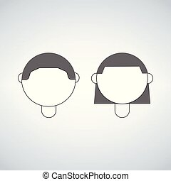 boy and girl head, vector icon isolated on white background.
