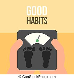 boy and girl healthy good habits - hands holding loss weight...