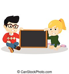 Boy and girl holding black board