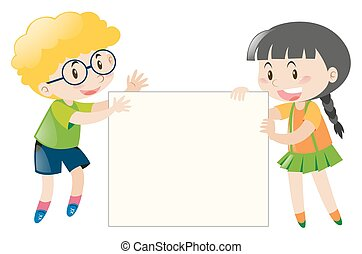 Boy and girl holding blank sign