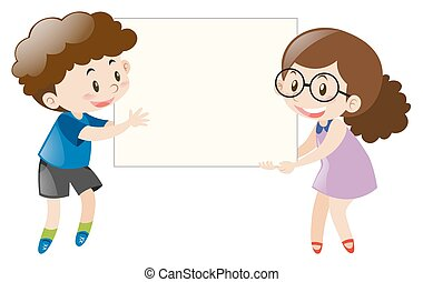 Boy and girl holding blank white board