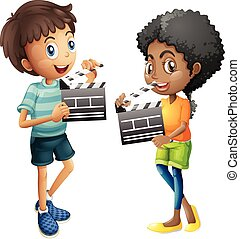 Boy and girl holding clapboard