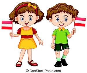 Boy and girl holding flag of Austria