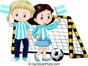 Boy and girl holding flag of Nicaragua