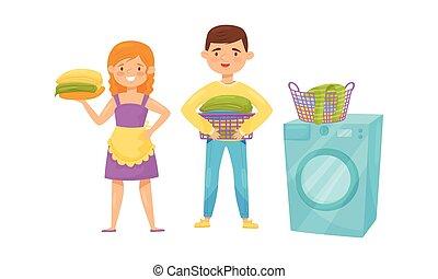 Boy and Girl Holding Folded Washed Clothing Items and Washing Machine with Basket Vector Set