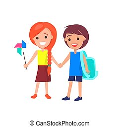 Boy and Girl Holding Hands Isolated Illustration - Boy with...