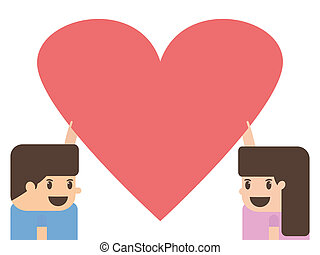 boy and girl holding heart paper