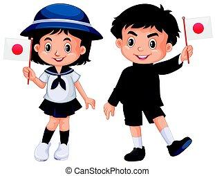 Boy and girl holding Japan flag