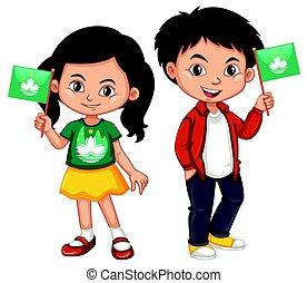 Boy and girl holding Macau flag