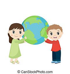Boy and girl holding planet earth.