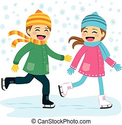 Boy and Girl Ice Skating - Cute boy and girl wearing warm...