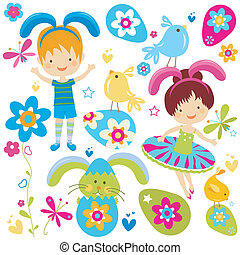 boy and girl in bunny costume painting the easter eggs