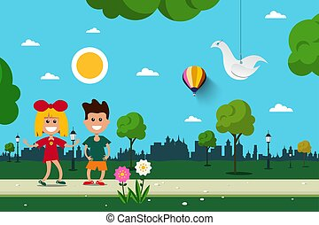Boy and Girl in City Park. Vector Flat Design Scene.