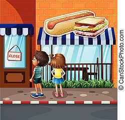 Boy and girl in front of restaurant