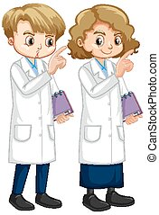 Boy and girl in lab gown holding notebook