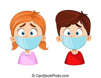 Boy and girl in medical masks. Virus protection