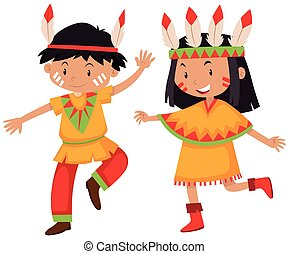 Boy and girl in Native American indians illustration