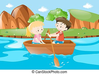 Boy and girl in rowboat