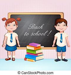 Boy and girl in school uniform.