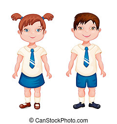 Boy and girl in school uniform isolated on white.