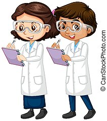 Boy and girl in science gown writing notes