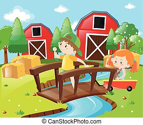 Boy and girl in the farmyard