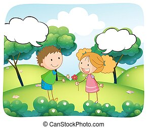 Boy and girl in the park at daytime