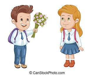 Boy and girl in uniform with school bags
