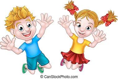 Boy and Girl Jumping Cartoon