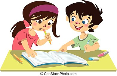 Boy and girl kids students studying doing their homework...